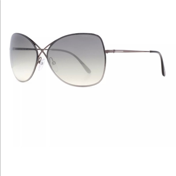 New Authentic Tom Ford TF250 Collete 08C Silver Black Sunglasses Grey Gradient